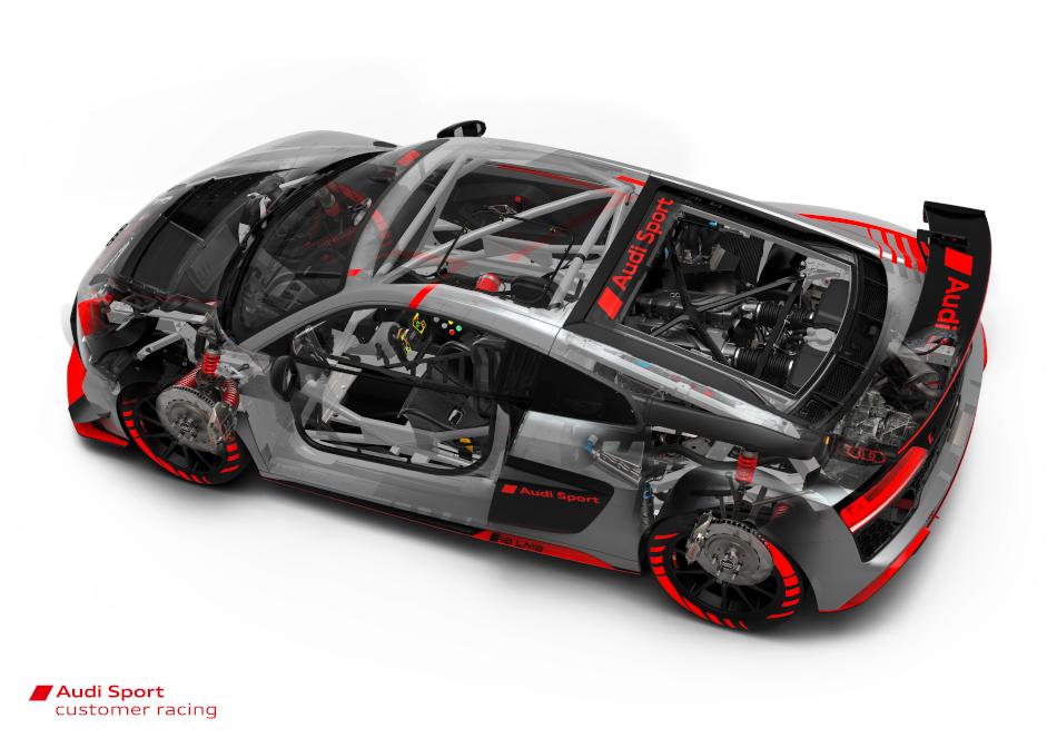 Der R8 LMS GT4 bietet etliche Features, welche der Sicherheit des Fahrers zuträglich sind